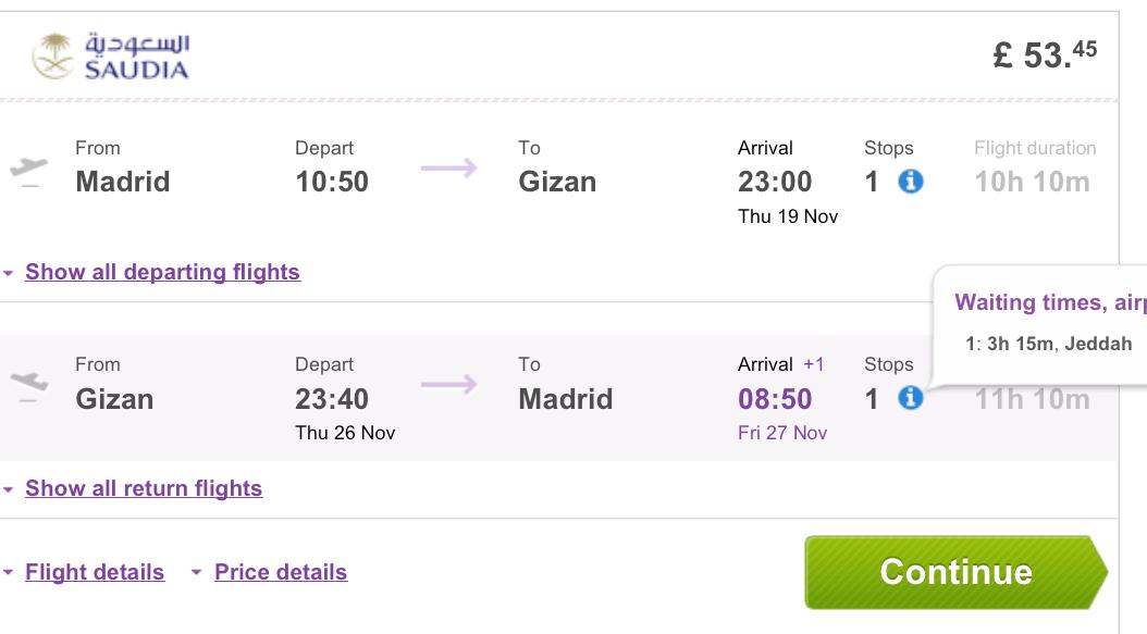 Vuelos baratos tarifa error Madrid a Arabia Saudi