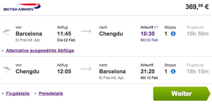 Vuelos baratos Barcelona Chengdu 369 euros