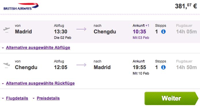 Vuelos baratos Madrid Chengdu 380 euros