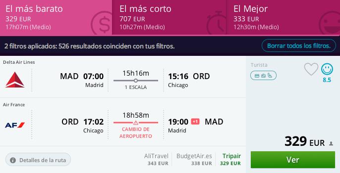 Vuelos baratos Madrid - chicago 330 euros
