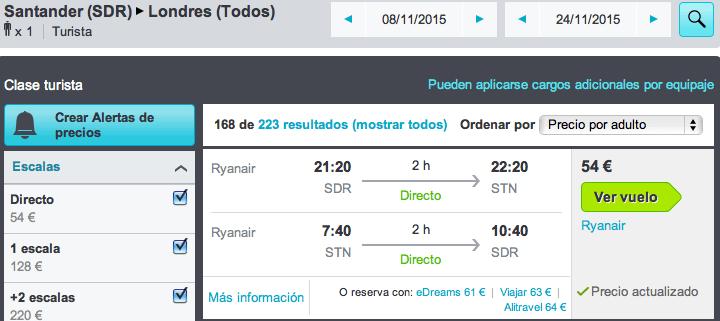 Vuelos baratos Santander - Londres por 54 euros