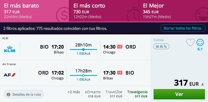 vuelos baratos Bilbao - Chicago 317 euros