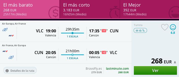 Tarifa Error Valencia Cancún 268 euros