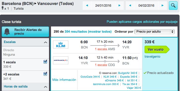 Vuelos baratos Barcelona Vancouver 339 euros