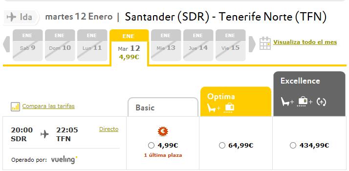 VUELOS BARATOS SANTANDER TENERIFE