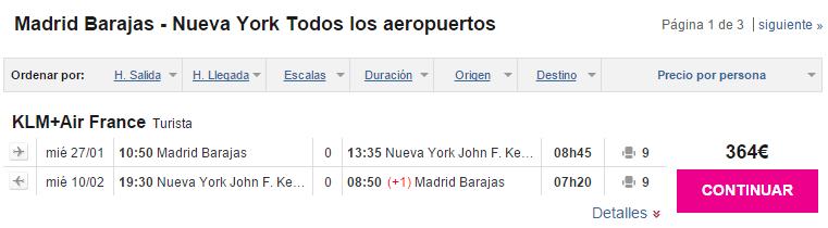 Vuelo directo Madrid Nueva York