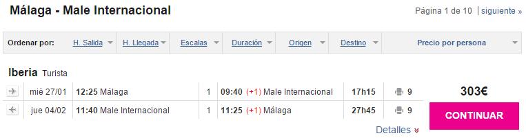 vuelos baratos Malaga Maldivas