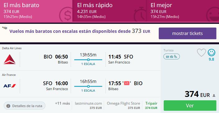 vuelos baratos bilbao san francisco