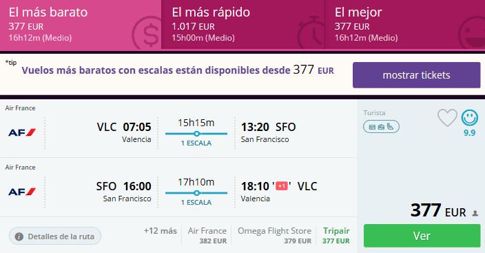 vuelos baratos valencia san francisco