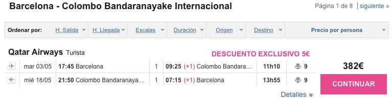 Qatar Barcelona Colombo 382 euros