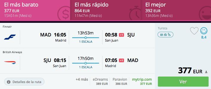 VUelos baratos Madrid Puerto Rico