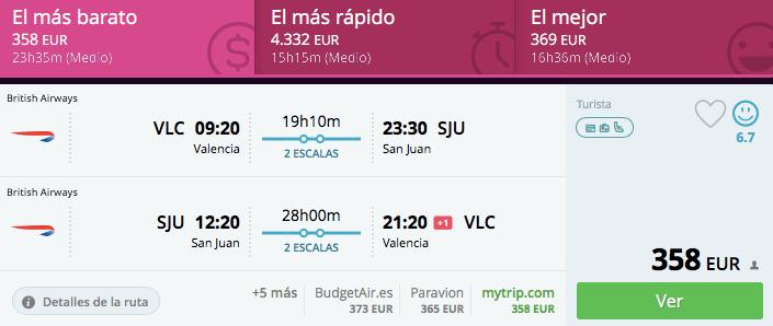 vuelos baratos Valencia Puerto RIco