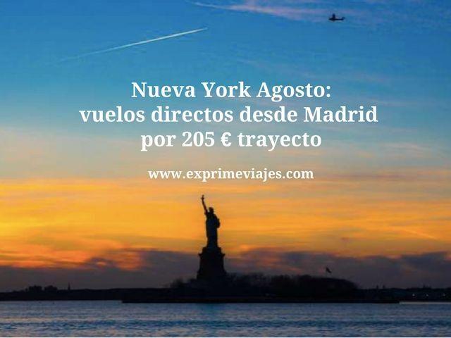 NUEVA YORK AGOSTO: VUELOS DIRECTOS DESDE MADRID POR 205 TRAYECTO