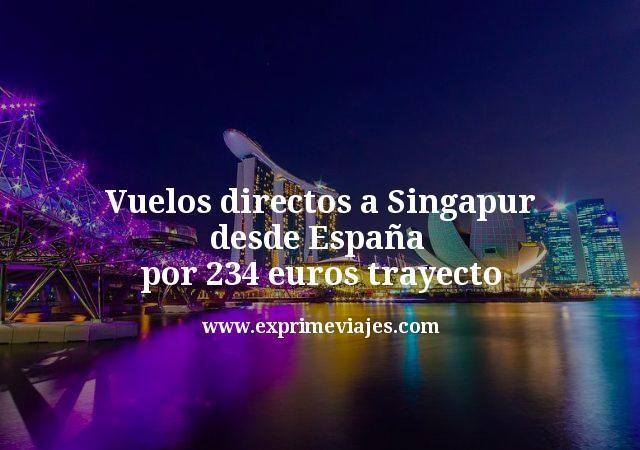 Vuelos directos a Singapur desde España por 234euros trayecto