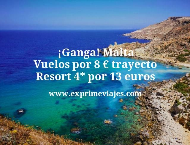 ¡Ganga! Malta: Vuelos por 8€ trayecto. Resort 4* por 13euros