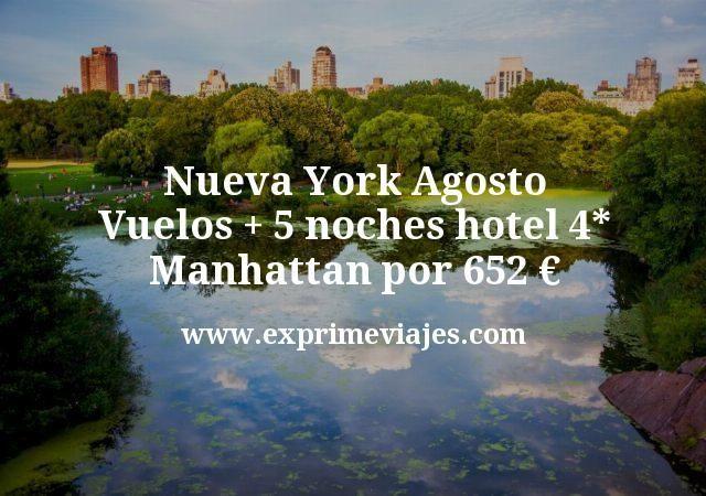 Nueva York Agosto: Vuelos directos + 5 noches hotel 4* Manhattan por 652€