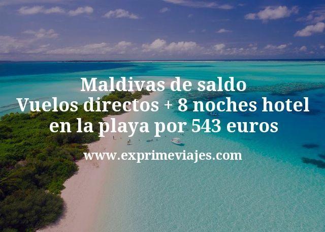 Maldivas de saldo: Vuelos directos + 8 noches hotel en la playa por 543euros