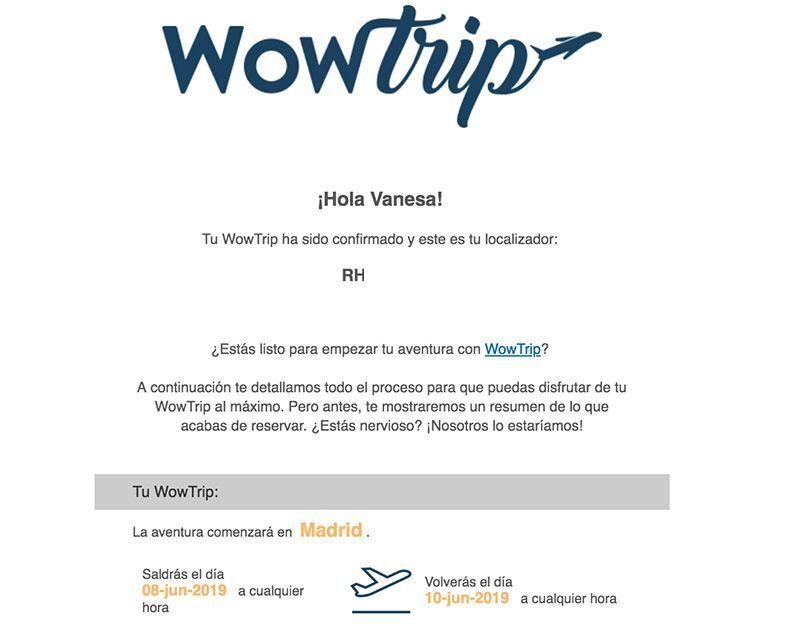 Correo de confirmación WowTrip