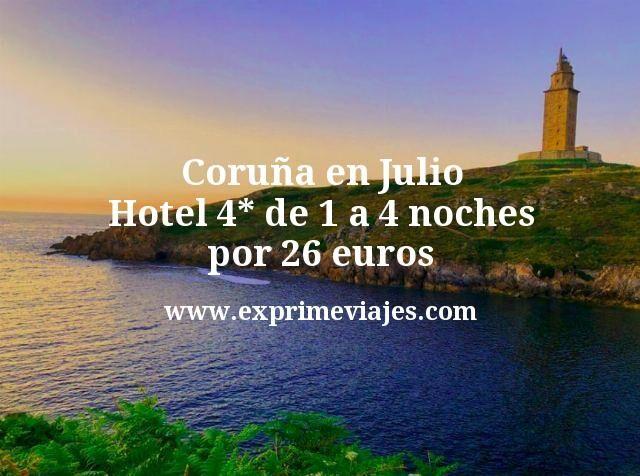 Coruña en Julio: Hotel 4* de 1 a 4 noches por 26€ p.p/noche