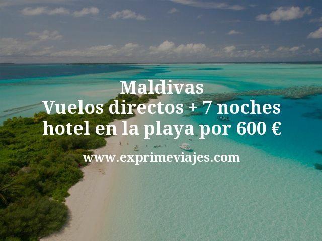 Maldivas: Vuelos directos + 7 noches hotel en la playa por 600euros