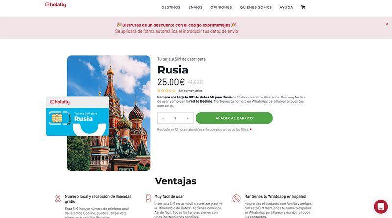 Tarjeta SIM Rusia Exprime Viajes Holafly datos ilimitados
