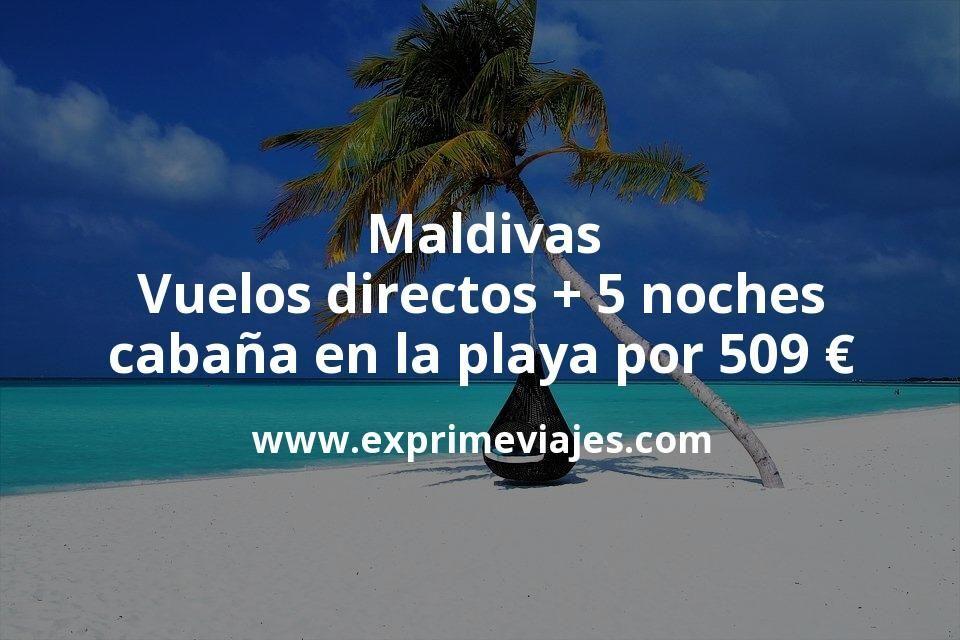 ¡Wow! Maldivas: Vuelos directos + 5 noches cabaña en la playa por 509euros