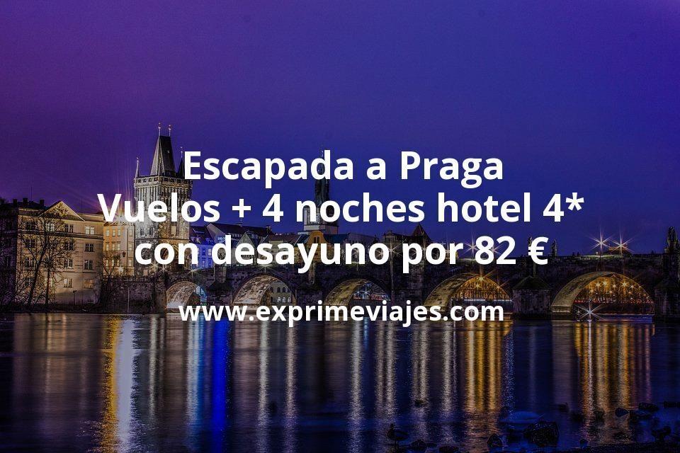 Escapada a Praga: Vuelos + 4 noches hotel 4* con desayuno por 82euros