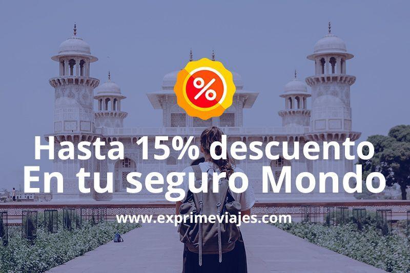 Hasta un 15% de descuento en tu seguro de viaje Mondo