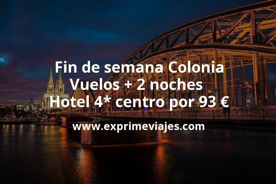 Fin de semana Colonia: Vuelos + 2 noches hotel 4* centro por 93euros