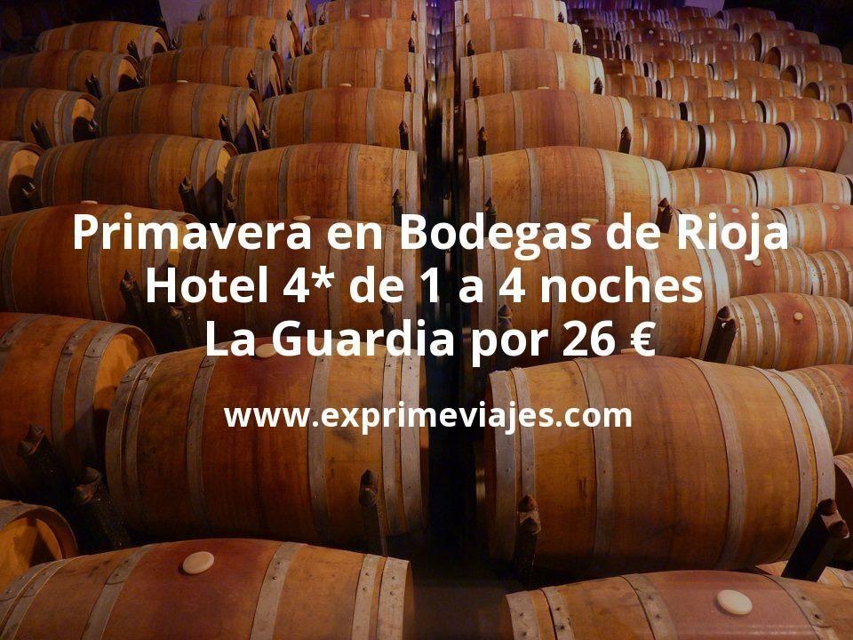 Primavera en Bodegas de Rioja: Hotel 4* de 1 a 4 noches Laguardia por 26€ p.p/noche