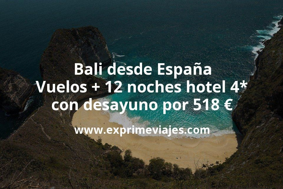 ¡Wow! Bali: Vuelos desde España + 12 noches hotel 4* con desayuno por 518euros