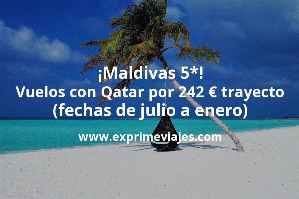 ¡Wow! Vuelos a Maldivas con Qatar Airways por 241€ trayecto (fechas de julio a enero)
