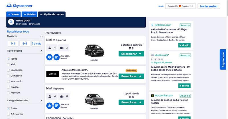 Skyscanner alquiler de coches baratos