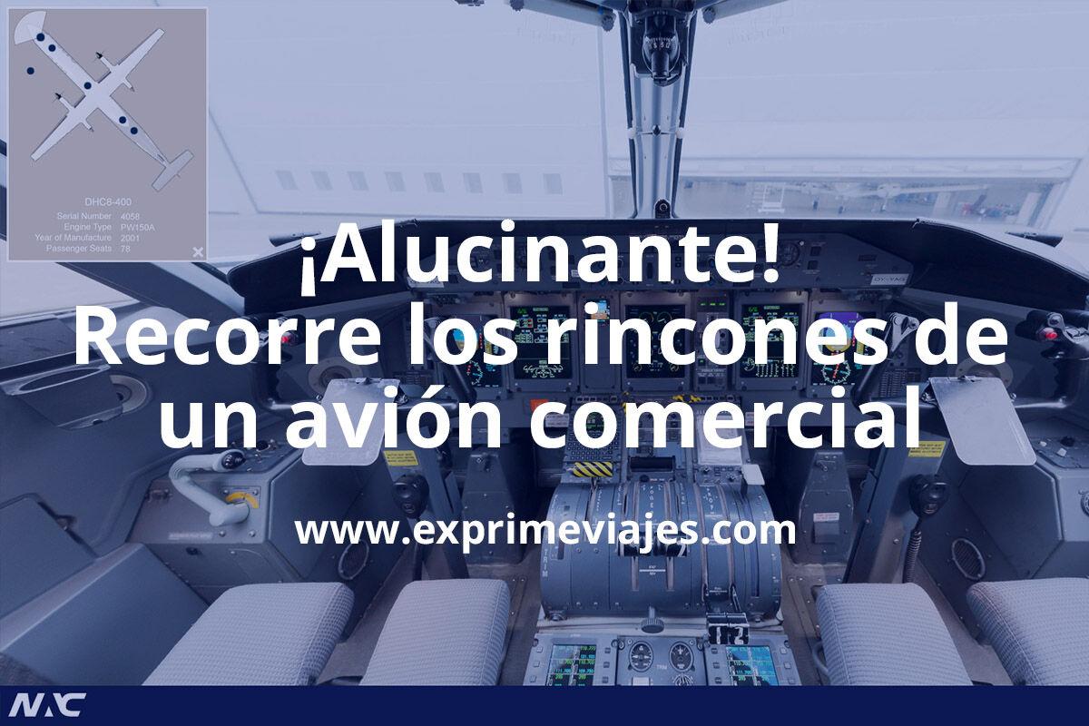 ¡Flipa! Entra hasta la cabina de un avión comercial Bombardier con esta visita 360º