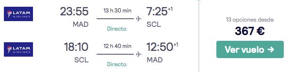 vuelos directos a chile desde madrid en agosto con LATAM