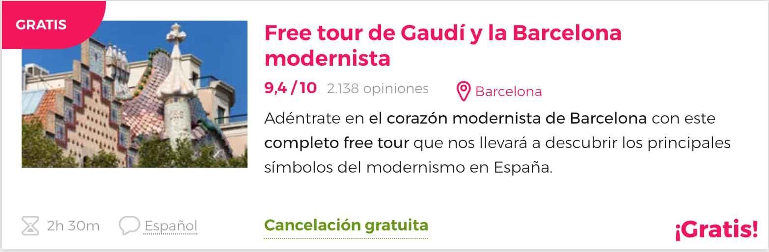 Freetour barecelona gaudí gratis