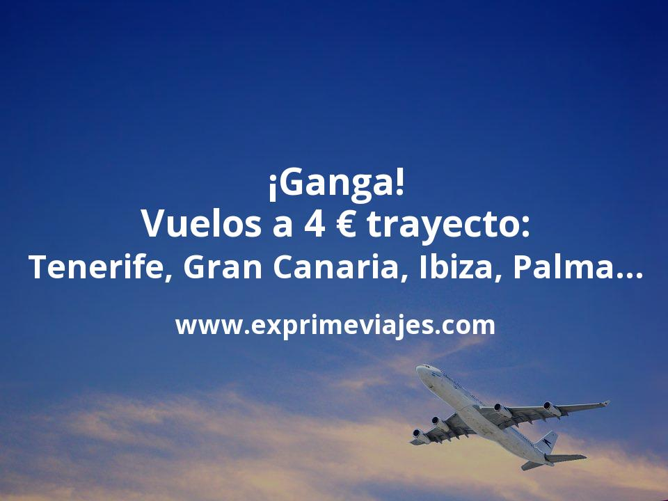 ¡Ganga! Vuelos a 4euros trayecto: Tenerife, Gran Canaria, Palma, Ibiza…