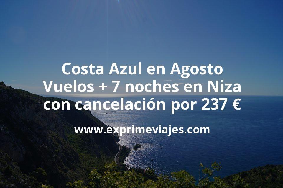 Costa Azul en Agosto: Vuelos + 7 noches en Niza con cancelación por 237euros