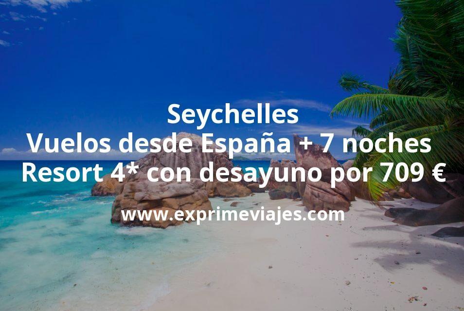 Seychelles: Vuelos desde España + 7 noches Resort 4* con desayuno por 709euros
