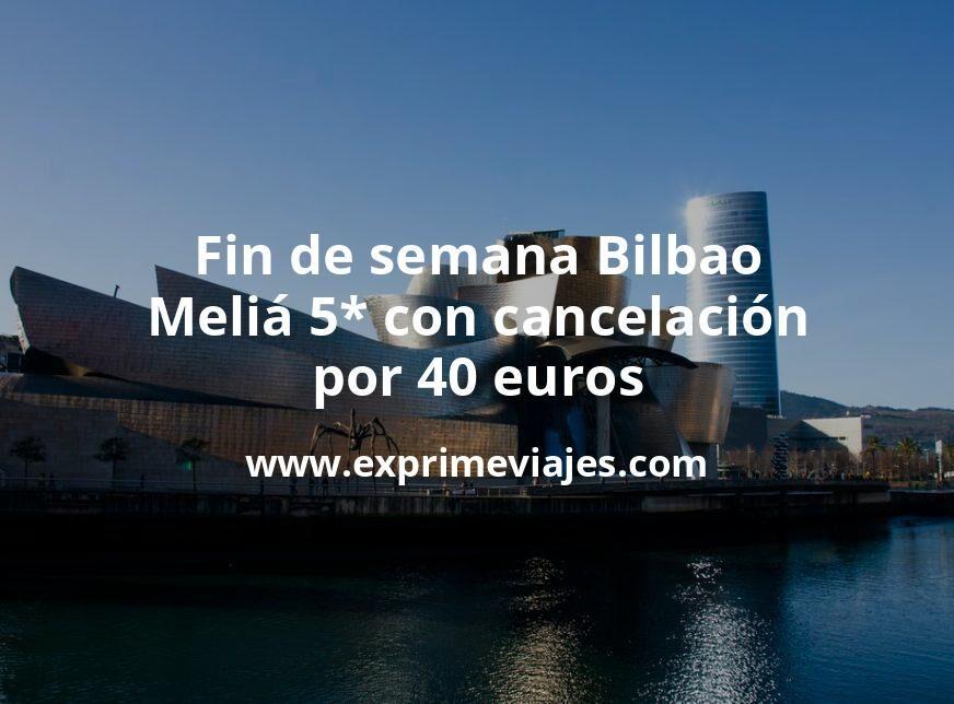 Fin de semana Bilbao: Meliá 5* con cancelación por 40€ p.p/noche