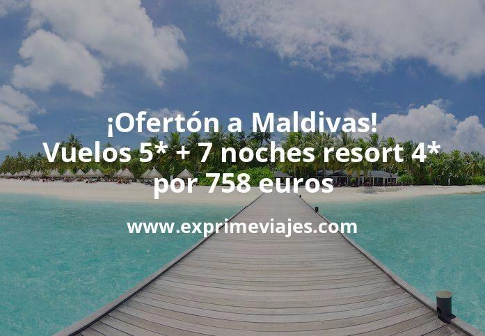 ¡Ofertón a Maldivas! Vuelos 5* + 7 noches 4* por 758euros