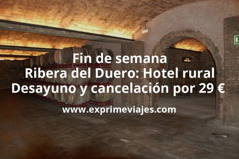 Fin de semana Ribera del Duero: Hotel rural con desayuno y cancelación por 29€ p.p/noche