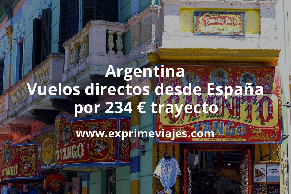 ¡Wow! Argentina: Vuelos directos desde España por 234€ trayecto