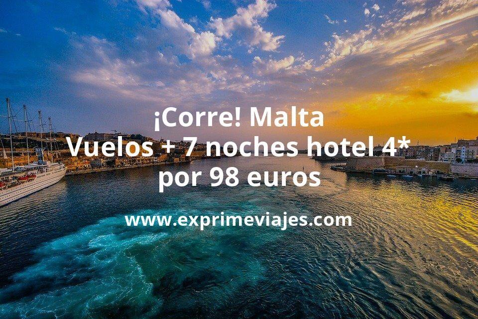 ¡Corre! Malta: Vuelos flexibles + 7 noches hotel 4* por 98euros