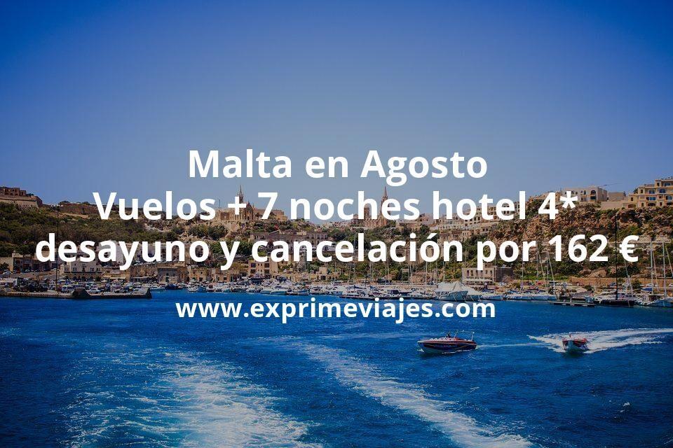 ¡Brutal! Malta en Agosto: Vuelos + 7 noches hotel 4* con desayuno y cancelación por 162euros