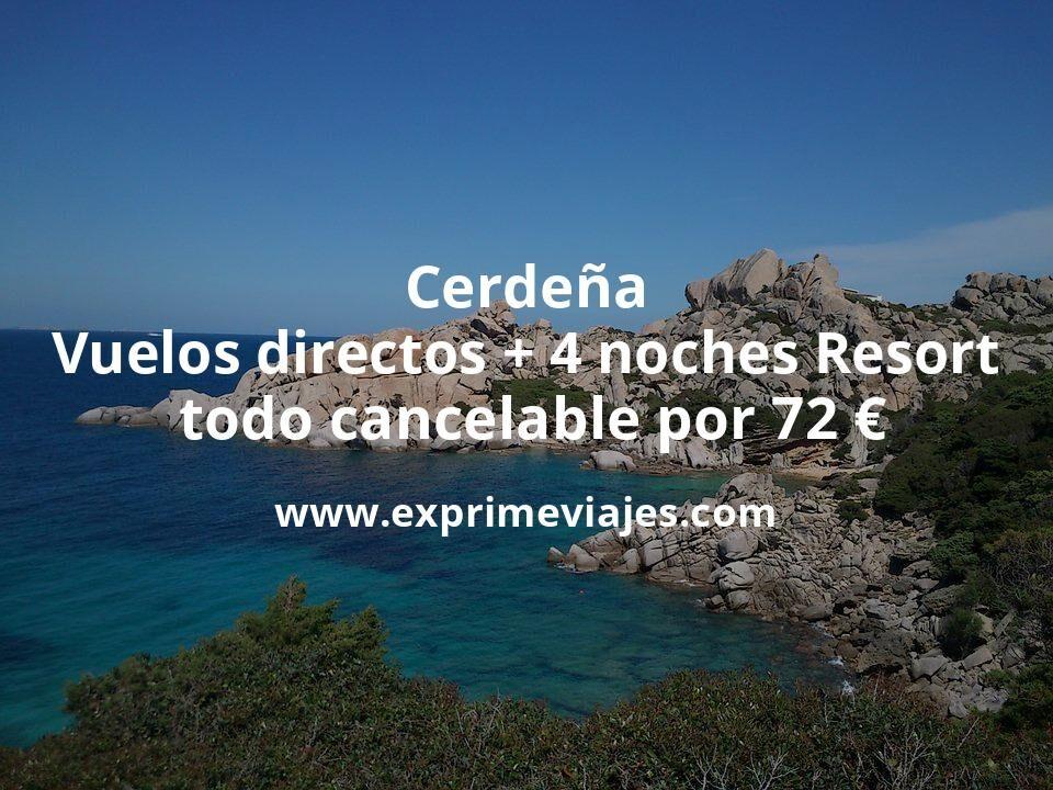 ¡Brutal! Cerdeña: Vuelos directos + 4 noches Resort todo cancelable por 72€ p.p/noche