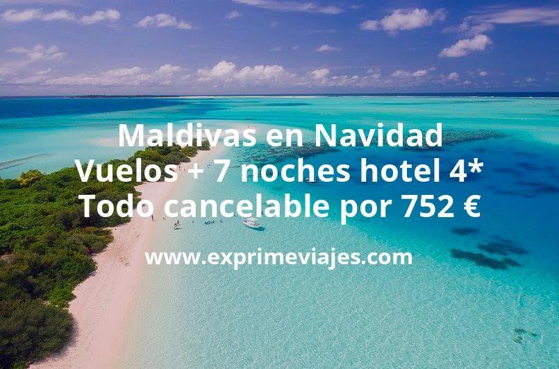 ¡Ofertón! Maldivas en Navidad: Vuelos + 7 noches hotel 4* todo cancelable por 752€