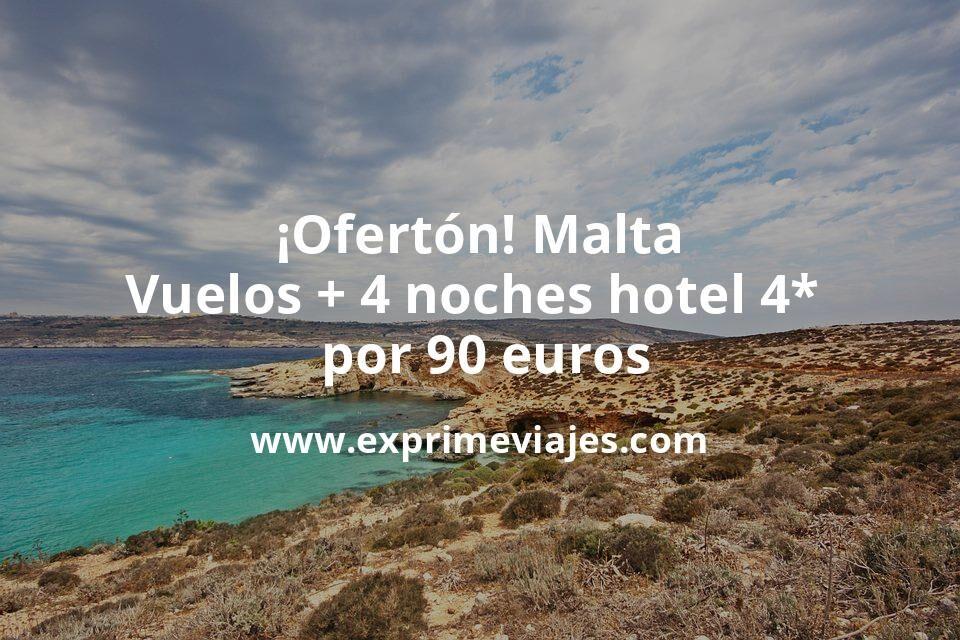 ¡Ofertón! Malta: Vuelos + 4 noches hotel 4* por 90euros