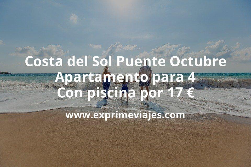 ¡Brutal! Costa del Sol Puente Octubre: Apartamento para 4 con piscina por 17€ p.p/noche
