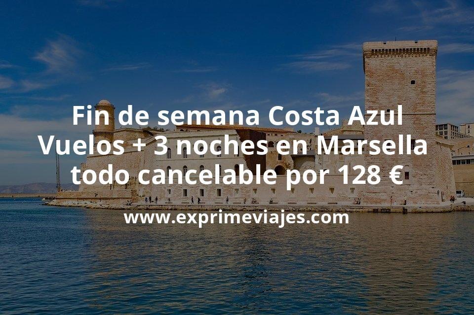 Fin de semana Costa Azul: Vuelos + 3 noches en Marsella todo cancelable por 128euros